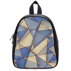 Blue And Tan Triangles Intertwine Together To Create An Abstract Background School Bags (small)  by Simbadda