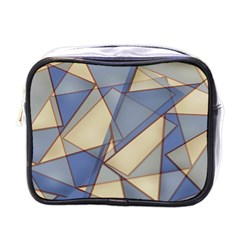 Blue And Tan Triangles Intertwine Together To Create An Abstract Background Mini Toiletries Bags by Simbadda