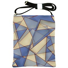 Blue And Tan Triangles Intertwine Together To Create An Abstract Background Shoulder Sling Bags by Simbadda