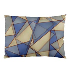 Blue And Tan Triangles Intertwine Together To Create An Abstract Background Pillow Case (two Sides) by Simbadda