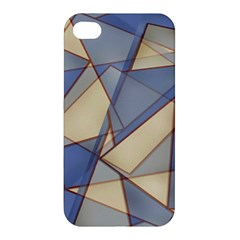 Blue And Tan Triangles Intertwine Together To Create An Abstract Background Apple Iphone 4/4s Hardshell Case by Simbadda