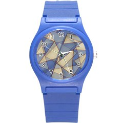 Blue And Tan Triangles Intertwine Together To Create An Abstract Background Round Plastic Sport Watch (s) by Simbadda