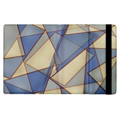 Blue And Tan Triangles Intertwine Together To Create An Abstract Background Apple Ipad 2 Flip Case by Simbadda