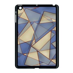 Blue And Tan Triangles Intertwine Together To Create An Abstract Background Apple Ipad Mini Case (black) by Simbadda