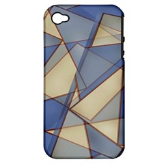 Blue And Tan Triangles Intertwine Together To Create An Abstract Background Apple Iphone 4/4s Hardshell Case (pc+silicone) by Simbadda