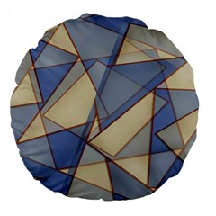 Blue And Tan Triangles Intertwine Together To Create An Abstract Background Large 18  Premium Round Cushions by Simbadda