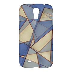 Blue And Tan Triangles Intertwine Together To Create An Abstract Background Samsung Galaxy S4 I9500/i9505 Hardshell Case by Simbadda