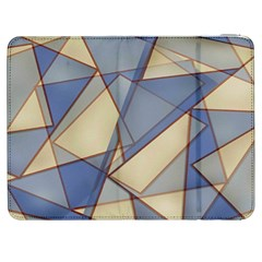 Blue And Tan Triangles Intertwine Together To Create An Abstract Background Samsung Galaxy Tab 7  P1000 Flip Case by Simbadda