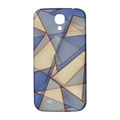 Blue And Tan Triangles Intertwine Together To Create An Abstract Background Samsung Galaxy S4 I9500/i9505  Hardshell Back Case by Simbadda