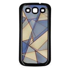 Blue And Tan Triangles Intertwine Together To Create An Abstract Background Samsung Galaxy S3 Back Case (black) by Simbadda