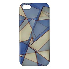 Blue And Tan Triangles Intertwine Together To Create An Abstract Background Iphone 5s/ Se Premium Hardshell Case by Simbadda