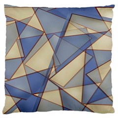 Blue And Tan Triangles Intertwine Together To Create An Abstract Background Standard Flano Cushion Case (one Side) by Simbadda