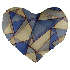 Blue And Tan Triangles Intertwine Together To Create An Abstract Background Large 19  Premium Flano Heart Shape Cushions by Simbadda