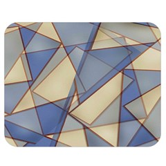 Blue And Tan Triangles Intertwine Together To Create An Abstract Background Double Sided Flano Blanket (medium)  by Simbadda