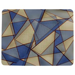 Blue And Tan Triangles Intertwine Together To Create An Abstract Background Jigsaw Puzzle Photo Stand (rectangular) by Simbadda