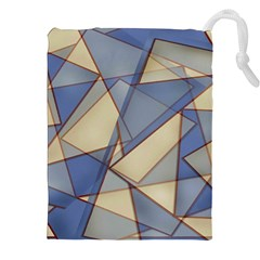 Blue And Tan Triangles Intertwine Together To Create An Abstract Background Drawstring Pouches (xxl) by Simbadda