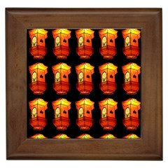 Paper Lanterns Pattern Background In Fiery Orange With A Black Background Framed Tiles by Simbadda