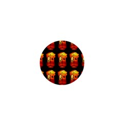 Paper Lanterns Pattern Background In Fiery Orange With A Black Background 1  Mini Buttons by Simbadda
