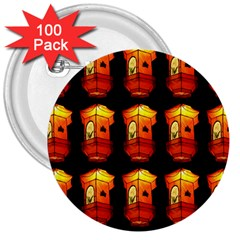 Paper Lanterns Pattern Background In Fiery Orange With A Black Background 3  Buttons (100 Pack)  by Simbadda