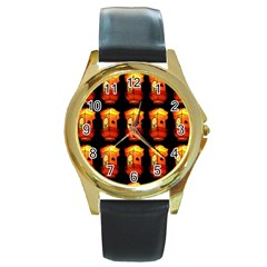 Paper Lanterns Pattern Background In Fiery Orange With A Black Background Round Gold Metal Watch by Simbadda
