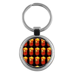 Paper Lanterns Pattern Background In Fiery Orange With A Black Background Key Chains (round)  by Simbadda