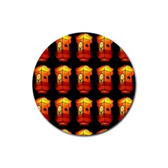 Paper Lanterns Pattern Background In Fiery Orange With A Black Background Rubber Coaster (round)  by Simbadda