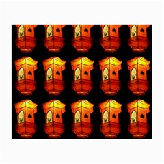 Paper Lanterns Pattern Background In Fiery Orange With A Black Background Small Glasses Cloth by Simbadda