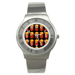 Paper Lanterns Pattern Background In Fiery Orange With A Black Background Stainless Steel Watch by Simbadda