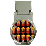 Paper Lanterns Pattern Background In Fiery Orange With A Black Background Money Clip Watches Front