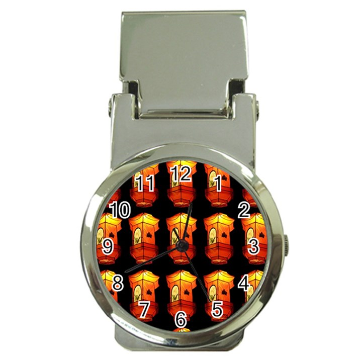Paper Lanterns Pattern Background In Fiery Orange With A Black Background Money Clip Watches