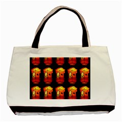 Paper Lanterns Pattern Background In Fiery Orange With A Black Background Basic Tote Bag by Simbadda