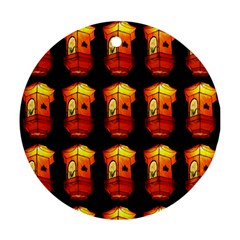 Paper Lanterns Pattern Background In Fiery Orange With A Black Background Round Ornament (two Sides) by Simbadda