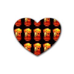 Paper Lanterns Pattern Background In Fiery Orange With A Black Background Rubber Coaster (heart)  by Simbadda