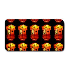 Paper Lanterns Pattern Background In Fiery Orange With A Black Background Medium Bar Mats by Simbadda