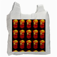 Paper Lanterns Pattern Background In Fiery Orange With A Black Background Recycle Bag (one Side) by Simbadda