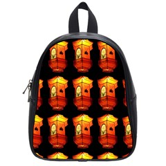 Paper Lanterns Pattern Background In Fiery Orange With A Black Background School Bags (small)  by Simbadda