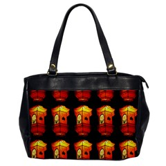 Paper Lanterns Pattern Background In Fiery Orange With A Black Background Office Handbags by Simbadda