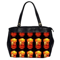 Paper Lanterns Pattern Background In Fiery Orange With A Black Background Office Handbags (2 Sides)  by Simbadda