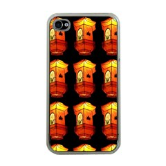 Paper Lanterns Pattern Background In Fiery Orange With A Black Background Apple Iphone 4 Case (clear) by Simbadda