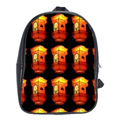 Paper Lanterns Pattern Background In Fiery Orange With A Black Background School Bags (xl)  by Simbadda