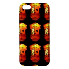 Paper Lanterns Pattern Background In Fiery Orange With A Black Background Apple Iphone 5 Premium Hardshell Case by Simbadda