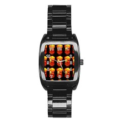 Paper Lanterns Pattern Background In Fiery Orange With A Black Background Stainless Steel Barrel Watch by Simbadda