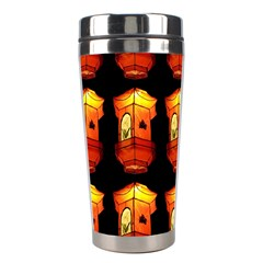 Paper Lanterns Pattern Background In Fiery Orange With A Black Background Stainless Steel Travel Tumblers by Simbadda