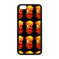 Paper Lanterns Pattern Background In Fiery Orange With A Black Background Apple Iphone 5c Seamless Case (black) by Simbadda