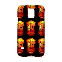 Paper Lanterns Pattern Background In Fiery Orange With A Black Background Samsung Galaxy S5 Hardshell Case  by Simbadda