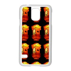 Paper Lanterns Pattern Background In Fiery Orange With A Black Background Samsung Galaxy S5 Case (white) by Simbadda