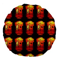 Paper Lanterns Pattern Background In Fiery Orange With A Black Background Large 18  Premium Flano Round Cushions by Simbadda