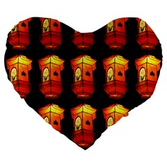 Paper Lanterns Pattern Background In Fiery Orange With A Black Background Large 19  Premium Flano Heart Shape Cushions by Simbadda