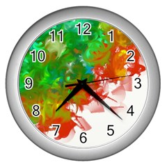 Digitally Painted Messy Paint Background Texture Wall Clocks (silver)  by Simbadda