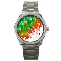 Digitally Painted Messy Paint Background Texture Sport Metal Watch by Simbadda